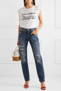 Appliquéd distressed boyfriend jeans from DOLCE & GABBANA