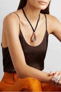 Allegra leather, 18-karat rose gold and diamond necklace from DE GRISOGONO