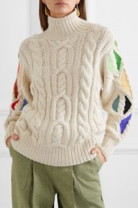 Pain In The Glass appliquéd cable-knit alpaca turtleneck sweater from ROSIE ASSOULIN