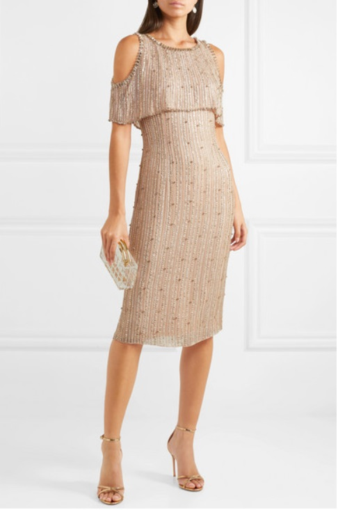 Cold-shoulder embellished chiffon dress from JENNY PACKHAM