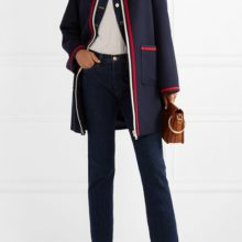 Grosgrain-trimmed wool coat from GUCCI